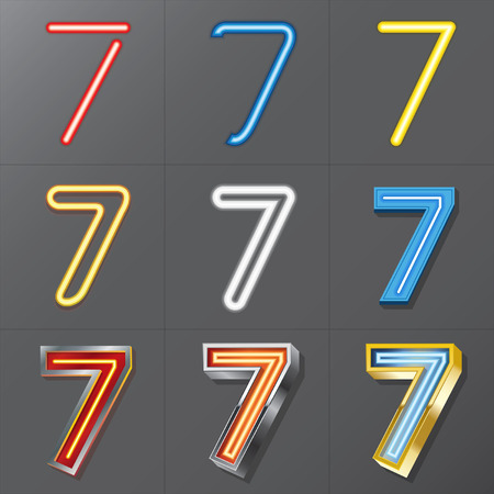 Set of Neon Style Number 7, Eps 10 Vector, Editable for Any Background, No Clipping Masks Vector