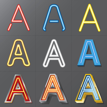 Set of Neon Style Alphabet A, Eps 10 Vector, Editable for Any Background, No Clipping Masks Vector