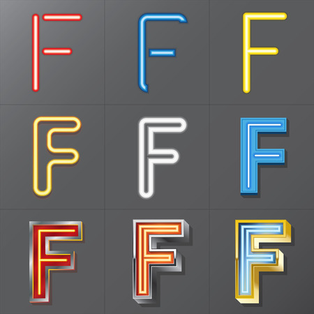 Set of Neon Style Alphabet F Vector
