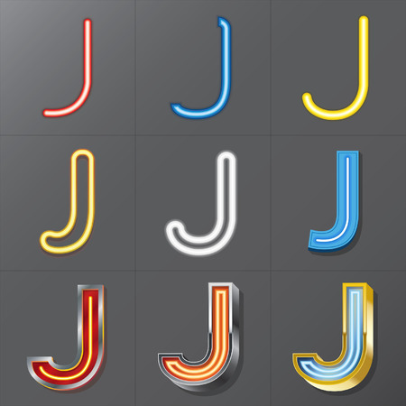 Set of Neon Style Alphabet J, Eps 10 Vector, Editable for Any Background, No Clipping Masks Vector