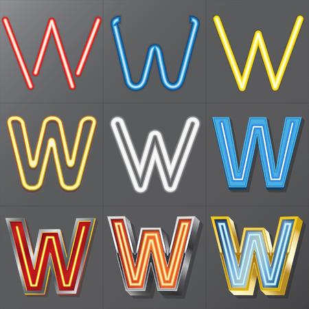 Set of Neon Style Alphabet W Vector