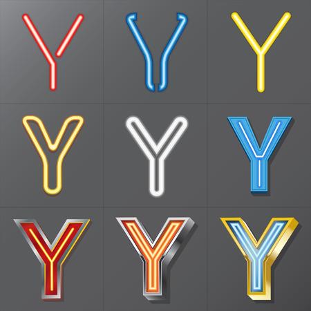Set of Neon Style Alphabet Y  Vector