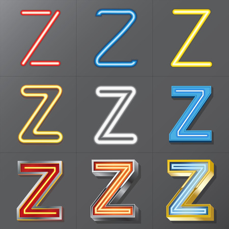 Set of Neon Style Alphabet Z  Vector