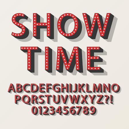レトロなブロードウェイのアルファベットと数字  イラスト・ベクター素材