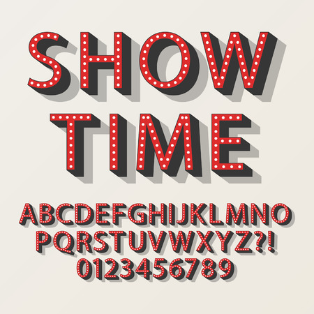 Retro Broadway Alphabet and Numbers Vectores