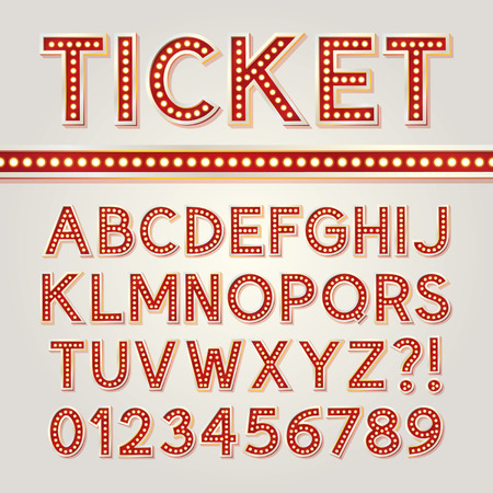 typo: Red Bright Broadway Alphabet and Numbers Illustration