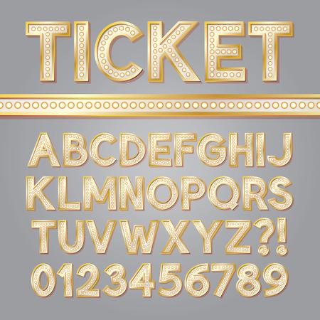 黄金の明るいブロードウェイ アルファベットと数字  イラスト・ベクター素材
