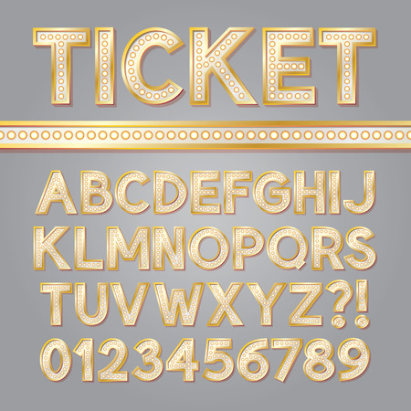 Golden Bright Broadway Alphabet and Numbers Vector