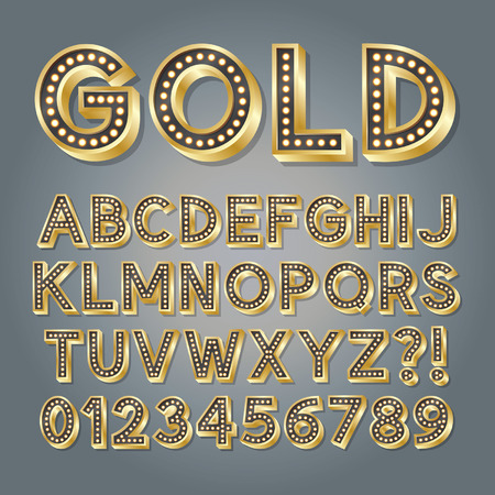 Golden 3D Broadway Alphabet and Numbers Vector