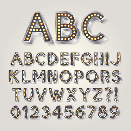 Silver 3D Broadway Alphabet and Numbers Vectores
