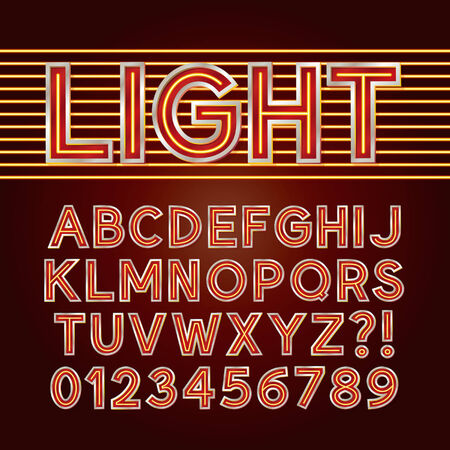 Red Neon Light Alphabet and Numbers Vector