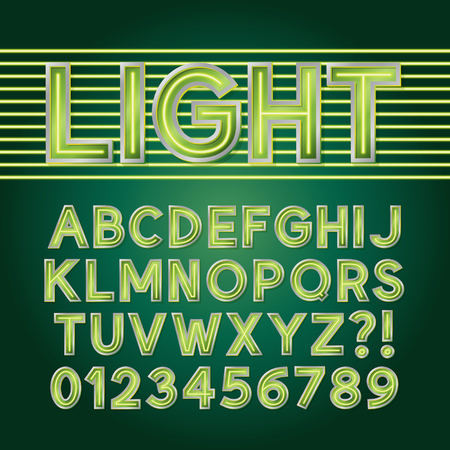 Green Neon Light Alphabet and Numbers Vector