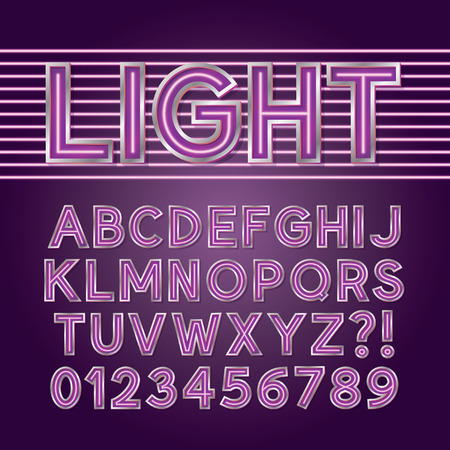 fluorescent tube: Purple Neon Light Alphabet and Numbers Illustration