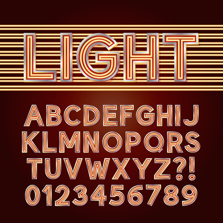 Red Parallel Neon Light Alphabet and Numbers Vector