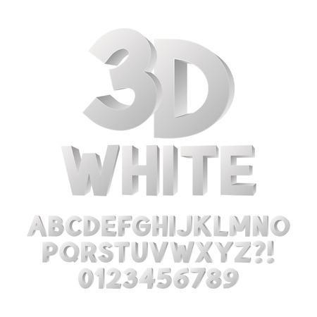 numbers abstract: Abstract White 3D Plastic Alphabet and Numbers