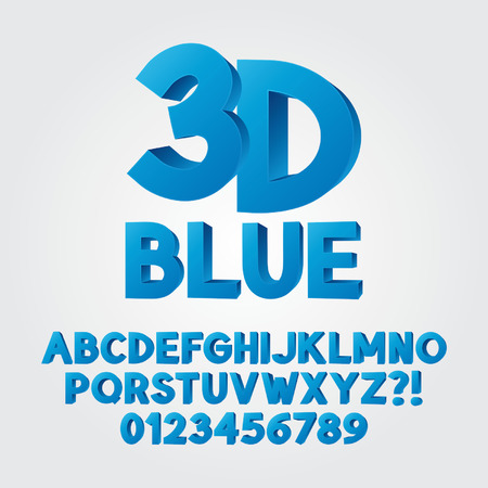 plastic: Abstracte Blauwe 3D Plastic Alfabet en Aantallen Stock Illustratie