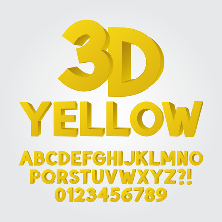 3d dimensional: Abstract Yellow 3D Plastic Alphabet and Numbers