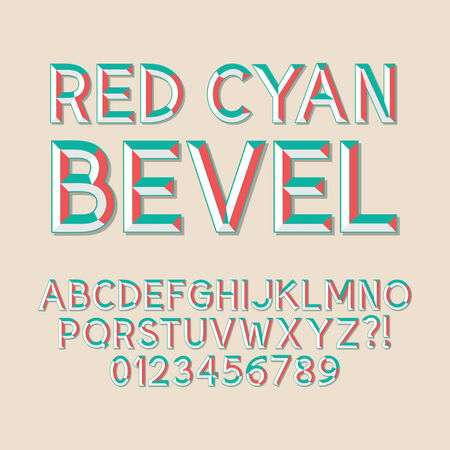 bevel: Red Cyan Bevel Alphabet and Numbers, Eps 10 Vector Editable