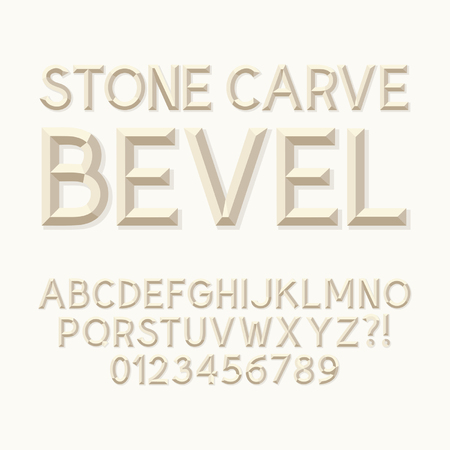 Stone Carve Bevel Alphabet and Numbers, Vector