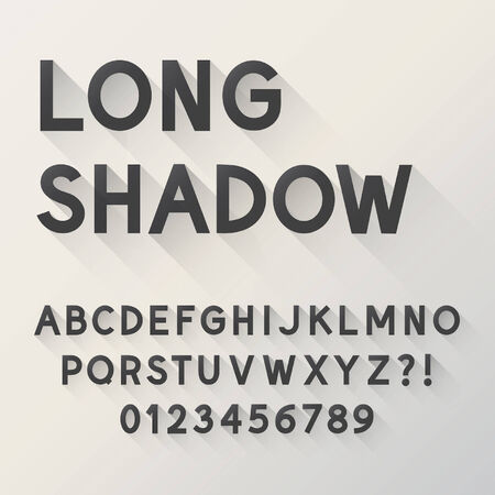 long: Bold Long Shadow Alphabet and Numbers,