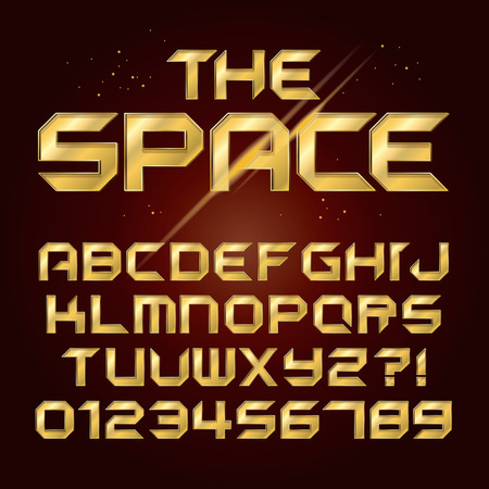 name plates: Futuristic Golden Shine Alphabet and Numbers, Editable eps10 Vector