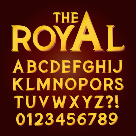 gold font: Golden Exclusive Luxury Alphabet and Numbers, Editable eps10 Vector