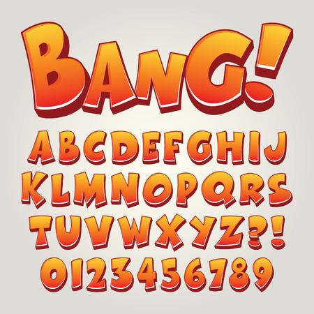 abecedario: Comic arte pop Alfabeto y números, editable Vectores