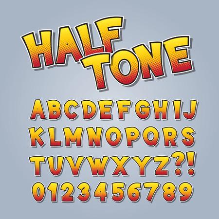 Halftone Comic Pop Art Alphabet and Numbers,