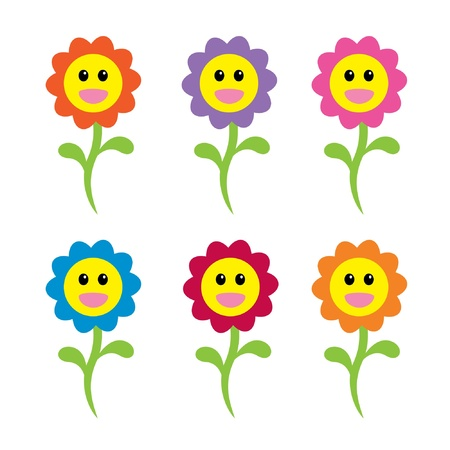 Happy Face bloemen Stock Illustratie