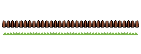 Pixel Fence and Grass Illustration