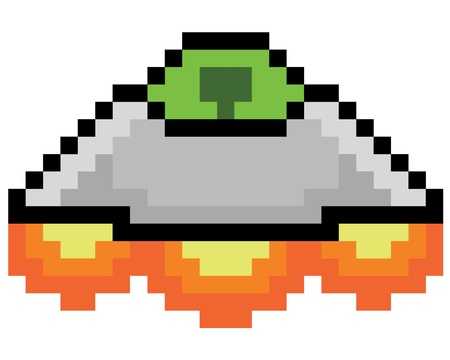 Pixel Spaceship Stock Illustratie