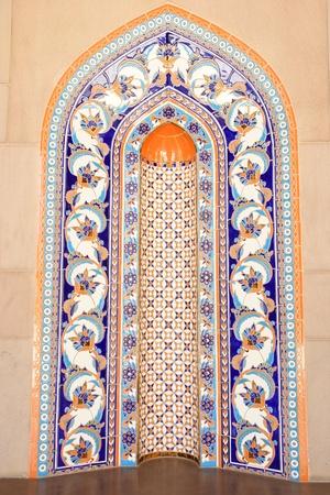 Oman: Muscat - Oman, Sultan Qaboos Grand Mosque wall tiles