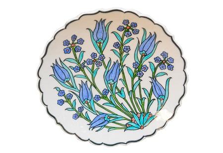 porcelain flower: Turkish tile - isolated on white background