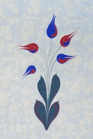 Marbled paper artwork background   - flower design                              photo