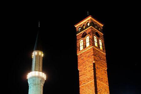 bosna: minaret and watch tower in sarajevo, bosnia and herzegovina - night scene