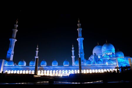 sheikh: Abu Dhabi, UAE -Shaikh Zayed Mosque - night shot