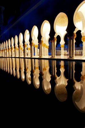 zayed: Abu Dhabi, UAE -Shaikh Zayed Mosque - Courtyard and reflection of columns in pond