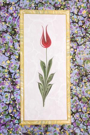 Marbled paper artwork - Tulip design photo
