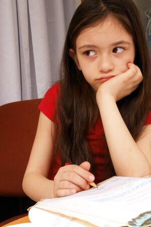 Little girl studies