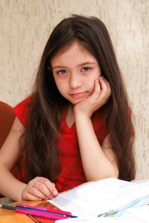 Little girl studies  photo