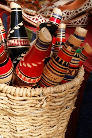 gouged: Traditional Mostar reedpipe flutes in basket - Bosnia and Herzegovina