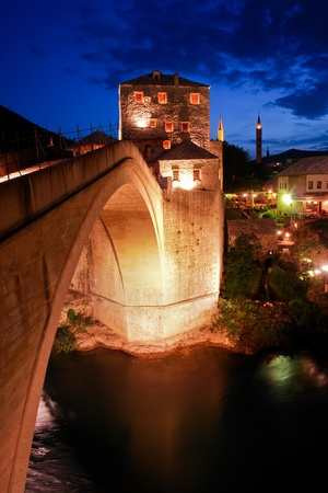 Mostar Bridge Bosnia and Herzegovina - Night scene  photo