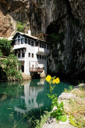 mostar: Famous dervish house in Blagaj Buna, near to Mostar in Bosnia and Herzegovina