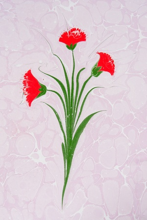 marbling: Turkish marbled paper artwork - Flower design Stock Photo