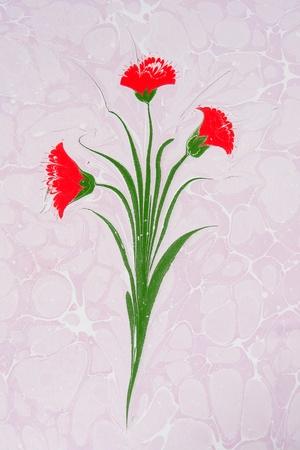 Turkish marbled paper artwork - Flower design Stock Photo