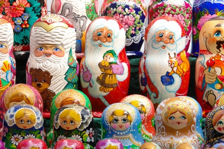 nested: Russian  nested dolls in rows Stock Photo