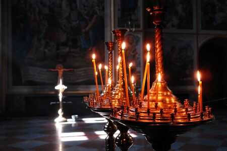 Candles in St. Michaels cathedral in Kiev - Ukraine