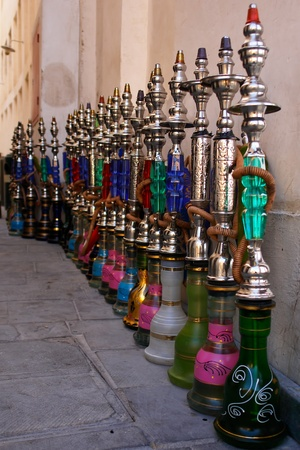 water pipes: Hookahs (water pipes) in souk wakif in Doha Qatar Stock Photo
