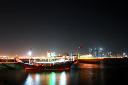 Doha Qatar - Fisher dhow - Night scene photo