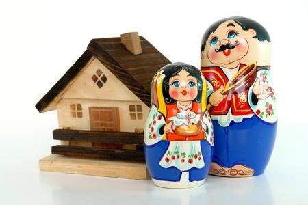 russian nested dolls: Russian nested dolls and home concept